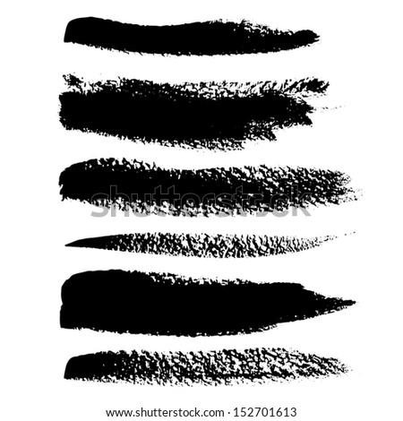 Black brush vector strokes set - stock vector