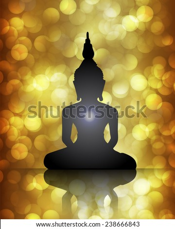 Black Buddha silhouette against brown bokeh defocused lights abstract background  - stock vector