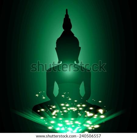 Black Buddha silhouette against Dark green background - stock vector