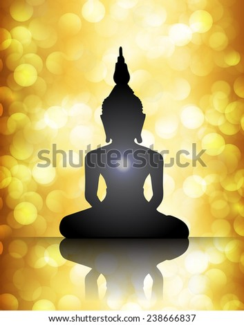Black Buddha silhouette against gold bokeh defocused lights abstract background  - stock vector