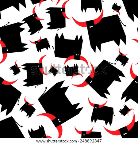 Black bull with red horns seamless pattern. Design element. - stock vector