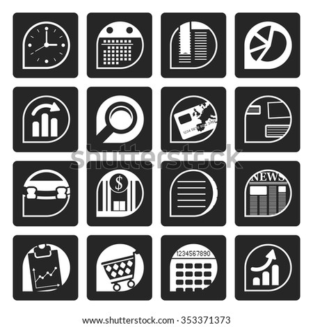 Black Business and Office  Internet Icons - Vector Icon Set  - stock vector