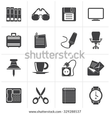 Black Business and office objects icons - vector icon set - stock vector