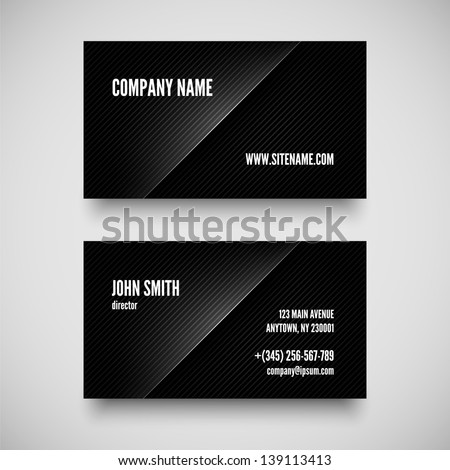 Black  business card template with patterned background - stock vector
