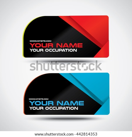 Black business card with high contrast colors, one rounded corner - stock vector
