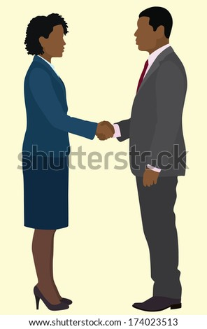Black Business Man And Woman Shaking Hands - stock vector