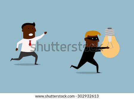 Cartoon Thief Running Running And Chasing Thief