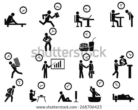 black businessman time management concept icons set - stock vector
