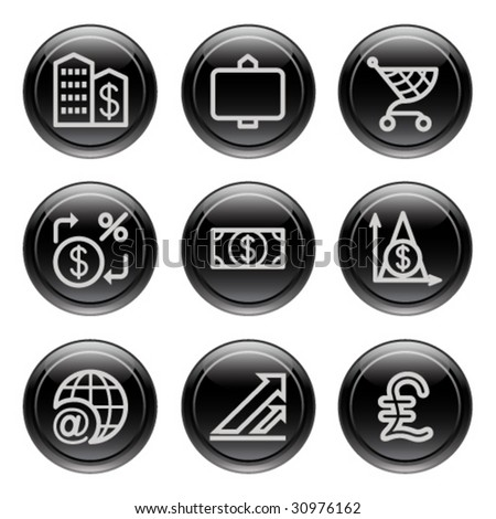 Black button for icon 23 - stock vector