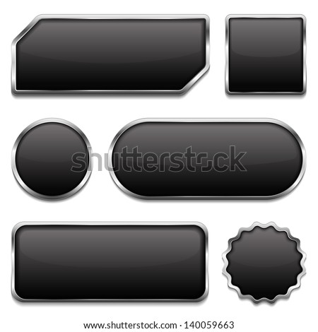 Black buttons with metallic frame, six different shapes, vector eps10 illustration - stock vector