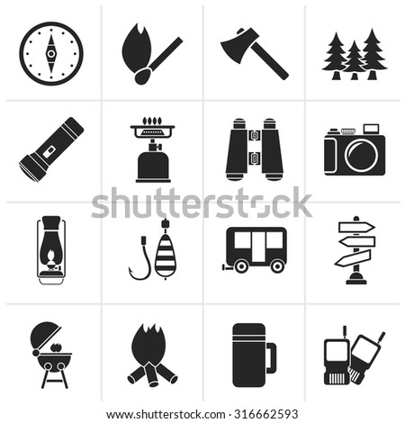 Black Camping, travel and Tourism icons - vector icon set - stock vector