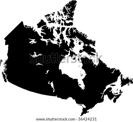 Black Canada map with province borders - stock vector