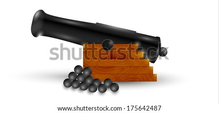 black cannon and balls with shadow on white background - stock vector
