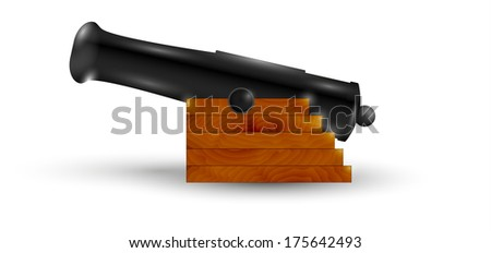 black cannon with shadow on white background - stock vector