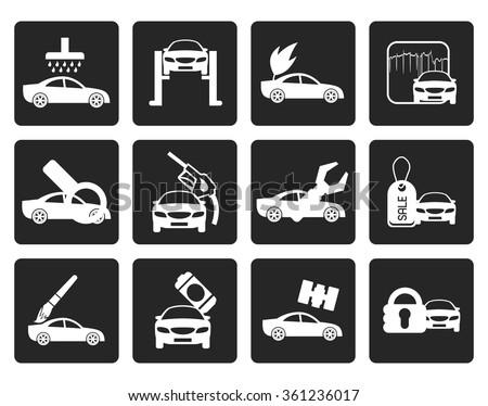 Black car and automobile service icon - vector icon set - stock vector