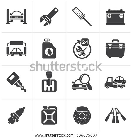 Black Car parts and services icons - vector icon set 1 - stock vector