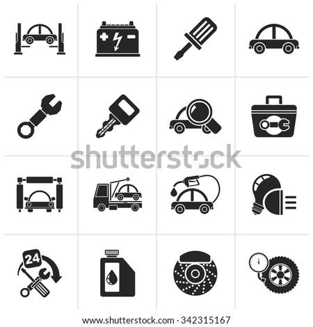 Black Car service maintenance icons - vector icon set - stock vector