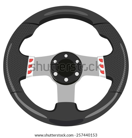 Black car wheel on a white background - stock vector