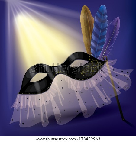 Black carnival mask with feathers and laces, lighted up by the rays of soffit. - stock vector