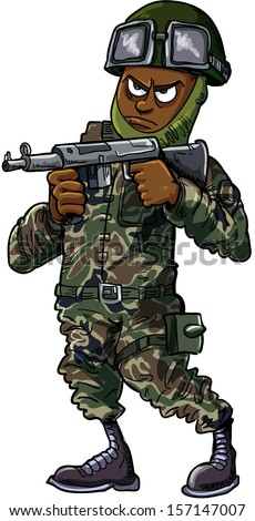 Black cartoon soldier with gun. Isolated on white - stock vector