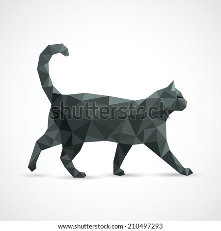 Black cat from geometric elements - vector illustration - stock vector
