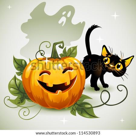 Black cat Halloween pumpkin and ghost. - stock vector