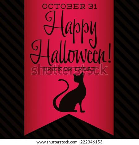 Black cat Halloween sash card in vector format. - stock vector