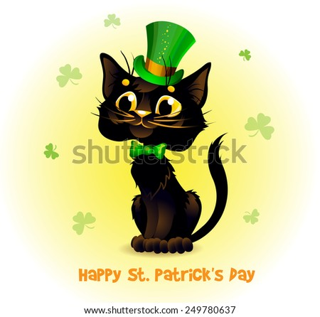 Black Cat in the Leprechaun hat. Poster St. Patrick's Day. Text on a separate layer.  - stock vector