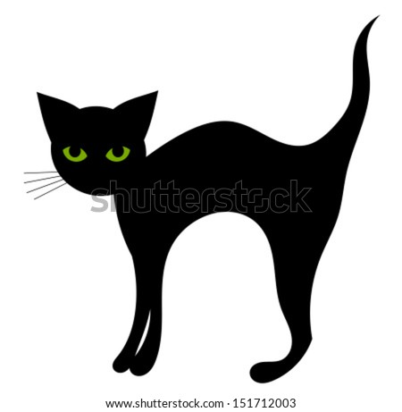 Black cat isolated. Halloween vector illustration - stock vector