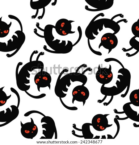 black cat seamless pattern on white - stock vector