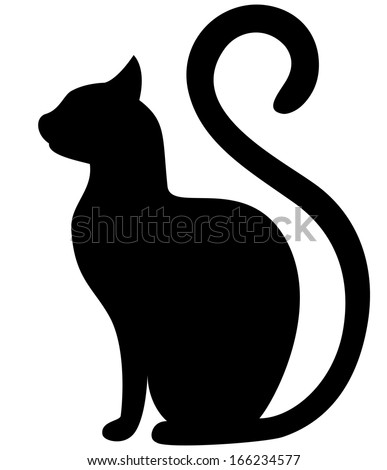 Black cat silhouette on a white background - stock vector