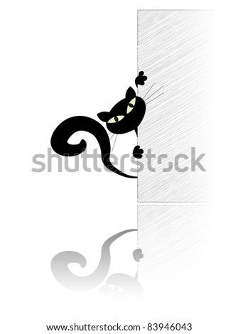 Black cat watching out of the wall - stock vector