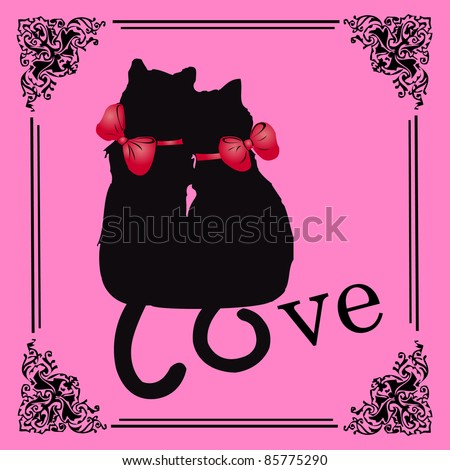 Black cats in love - vector valentine card with frame - stock vector