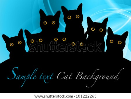 black cats on the blue background - stock vector