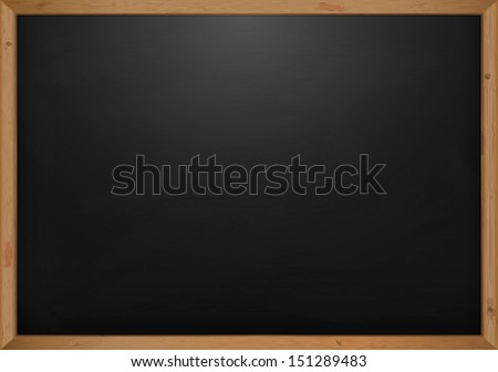 Black Chalkboard With Wooden Frame  - stock vector
