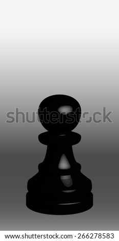Black chess pieces on black and white background: pawn - stock vector