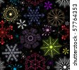 Black Christmas pattern with colorful snowflakes and stars (vector) - stock vector