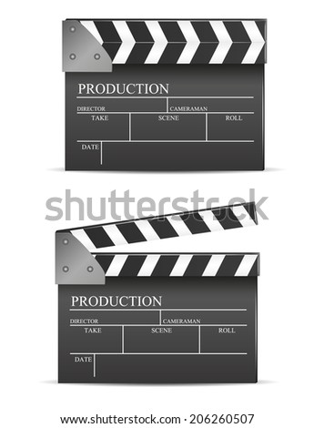 Black cinema clapper isolated  - stock vector