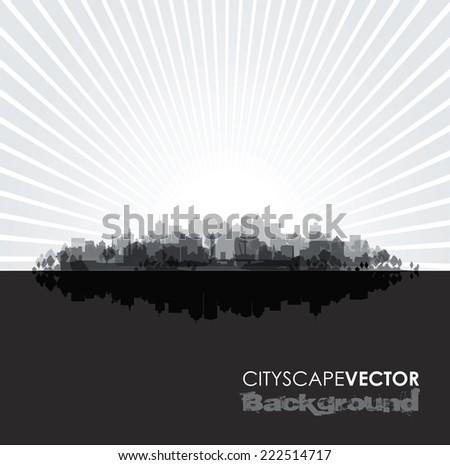 black cityscape overprint background - stock vector