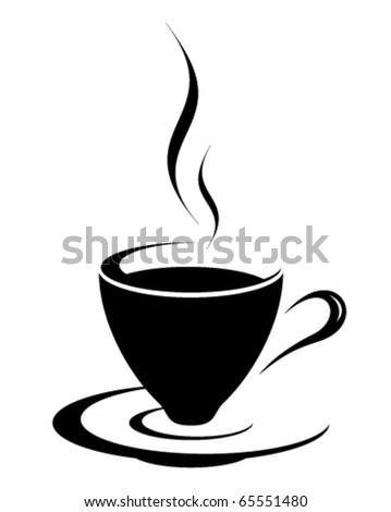 Black coffee cup icon - stock vector