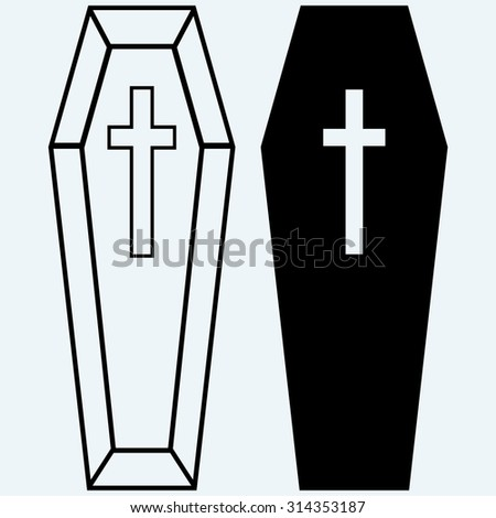 Black coffin. Isolated on blue background - stock vector
