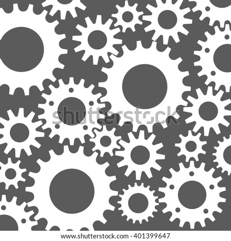 black cogs (gears) on color background - stock vector