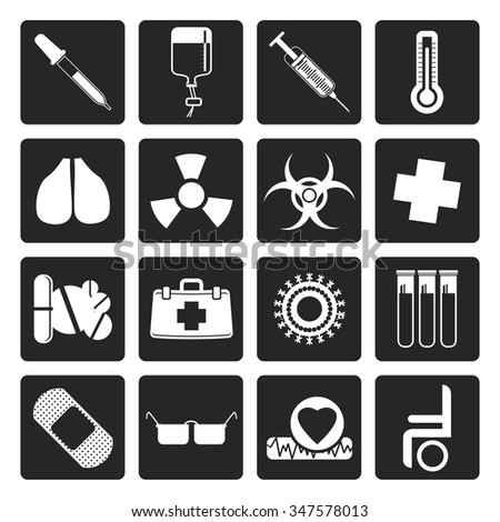 Black collection of  medical themed icons and warning-signs - Vector Icon Set - stock vector
