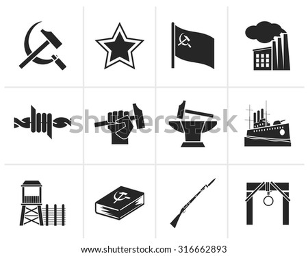 Black Communism, socialism and revolution icons - vector icon set - stock vector