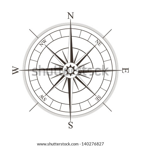 Black compass rose isolated on white - vector illustration - stock vector