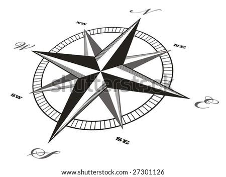 Black compass rose - vector - stock vector