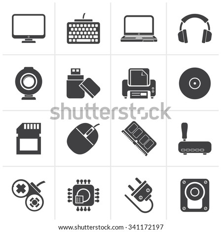 Black Computer peripherals and accessories icons - vector icon set - stock vector