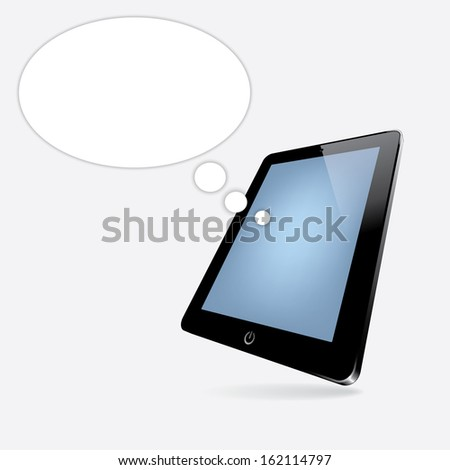 black computer tablet with speech bubble. perspective view. vector. eps10 - stock vector