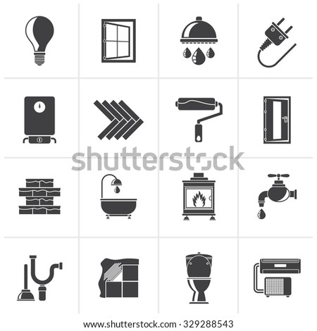 Black Construction and home renovation icons - vector icon set - stock vector