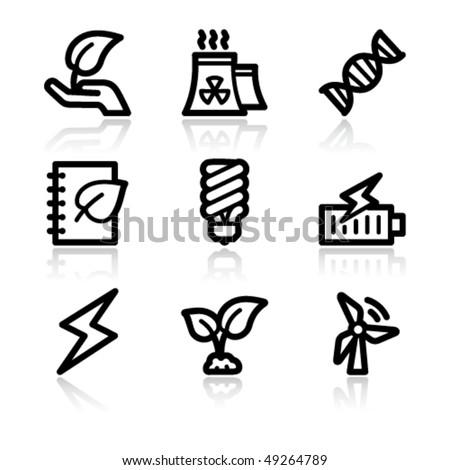 Black contour ecology set 5 web icons V2 - stock vector